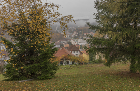 Spa town Luhacovice from garden on hill in autumn morning 版權商用圖片