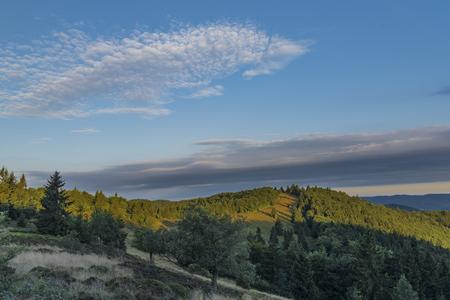 Color sunrise near Velky Javornik hill in summer morning