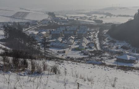 Gipsy village Dobra Vola in east Slovakia in winter snow sunny day
