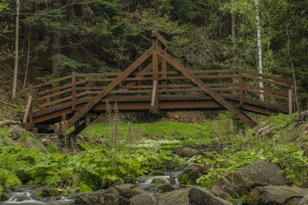 Wooden footbridge over Olesnice river near old wood gold mill near Zlate Hory town