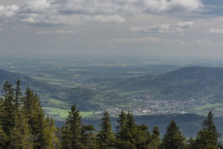 View from Serak hill for Jesenik spa town in cloudy blue morning