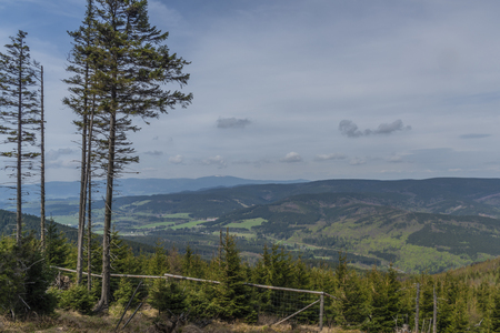 View from hill near Giant rocks in Jeseniky mountains in spring color day Reklamní fotografie