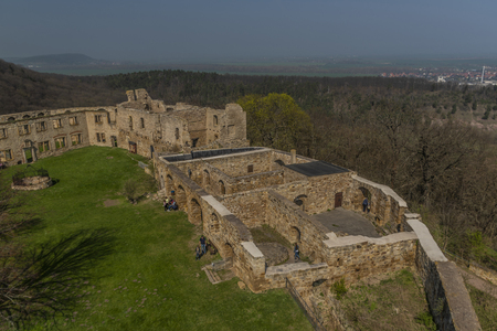 Castle Gleichen from tower in spring color sunny day with green grass and blue sky