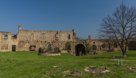 Interior of castle Gleichen in Germany with blue sky and green grass in spring time Reklamní fotografie