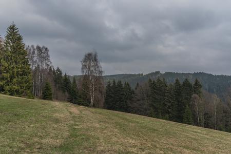 Landscape near Bublava ski slope village in Krusne mountains in west north Bohemia in spring day Reklamní fotografie