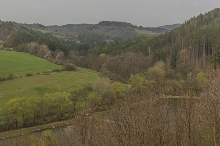 View from Brumov castle for Brumov town in spring cloudy day in Moravia Reklamní fotografie