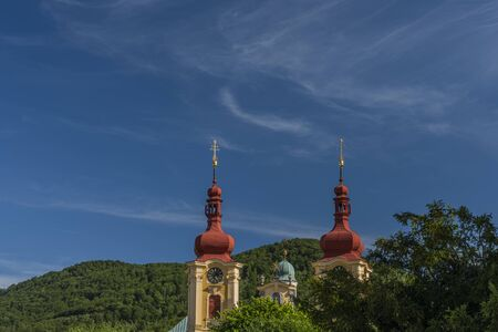 Old church near monastery in Hejnice town in north Bohemia in hot summer sunny evening