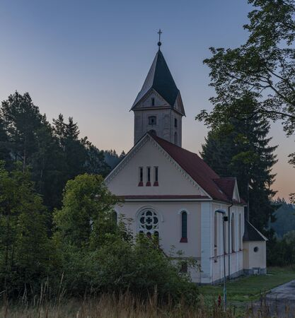 Church of Peter and Paul in Rotava town before sunrise in summer nice morning