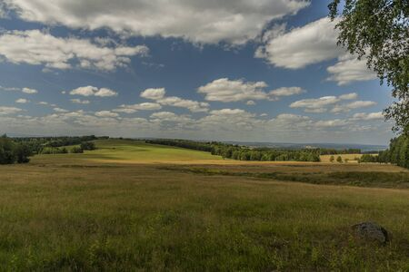 Meadows and pasture land near vanished village Smrkovec in summer hot day in west Bohemia