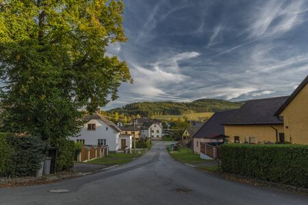 Village Besiny in south of Bohemia in autumn nice color evening with blue sky