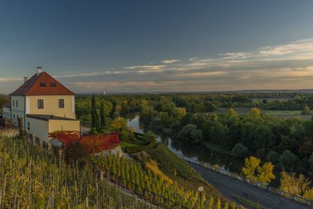 Old house with wineyard in sunset evening in autumn nice color day in Melnik big town