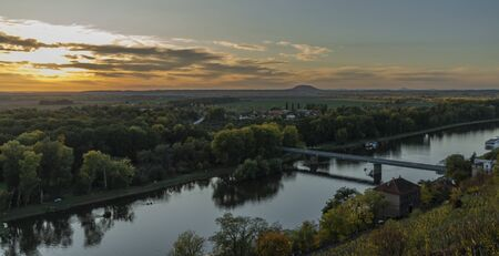 Sunset evening from Melnik castle in autumn color nice day
