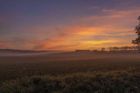 Orange sunrise in Vrsovka village in autumn nice morning in east Bohemia 版權商用圖片