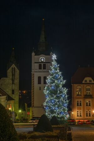 Christmas evening in Vimperk town in winter dark cold evening in national park Sumava Stock Photo