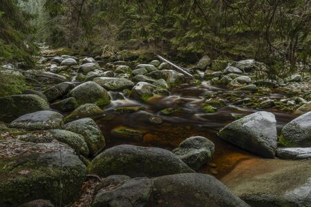 Vydra river in winter cold day in national park Sumava in south Bohemia