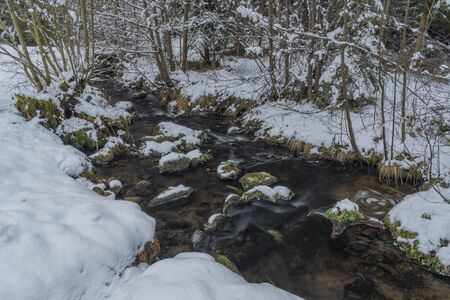 Hodslavsky creek with snow and ice in snowy winter day in Sumava national park in south Bohemia