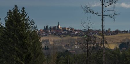 Svaty Jan nad Malsi village on beauty hill in sunny color day in south Bohemia Zdjęcie Seryjne
