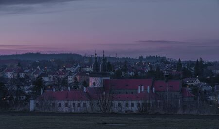 Color blue sky evening after nice sunset in Trebic town in winter