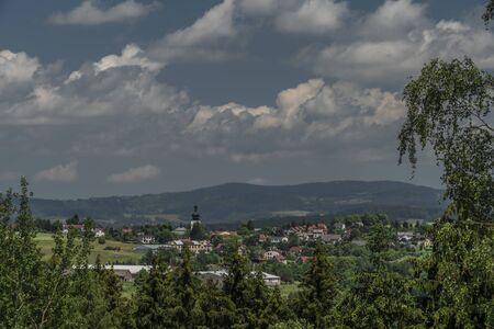 Bozkov village in summer sunny hot color day near Krkonose national park