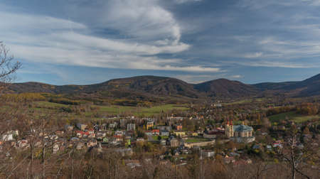 View point Poustevnikuv kamen over Hejnice town in Jizera mountains in sunny autumn day Reklamní fotografie