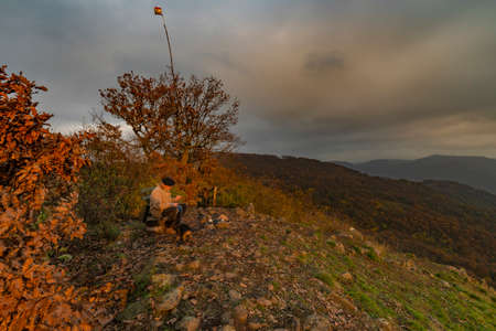 Skalky view point over valley of river Elbe in autumn dark cloudy day