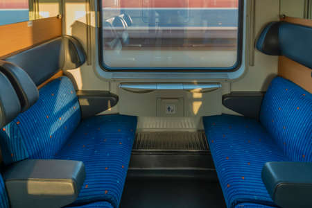 Blue seat compartment in fast expres train in Czech republic from Linz to Prague Reklamní fotografie