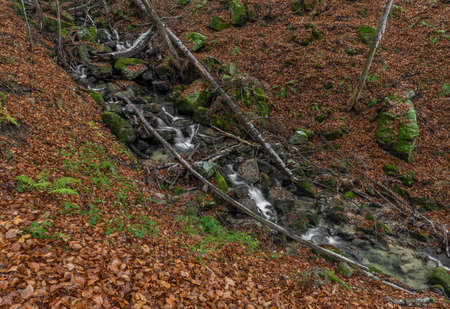 Cascade and creek Bystricka near Bystrice pod Hostynem town in east Moravia in cold autumn day Stock Photo
