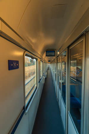 Corridor in fast expres train in Czech republic from Linz to Prague