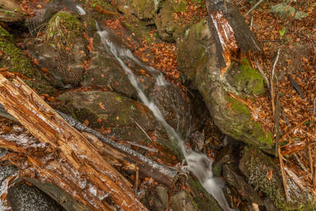 Waterfall under Cernava in east Moravia region in autumn winter cold color day