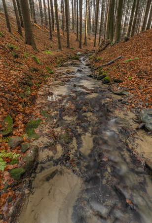 Cascade and creek Bystricka near Bystrice pod Hostynem town in east Moravia in cold autumn day Reklamní fotografie