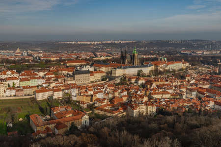 Prague from Petrin tower in autumn sunny color hot day