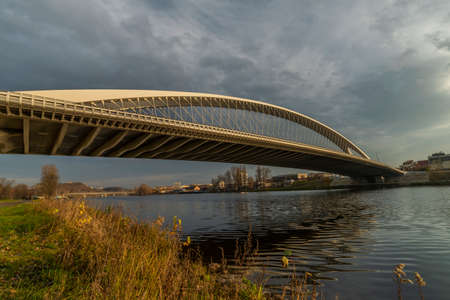 New Trojsky bridge in Prague Holesovice part of capital in color sunny autumn afternoon