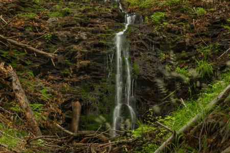 Waterfall near Kouty nad Desnou village in summer day in forest Reklamní fotografie