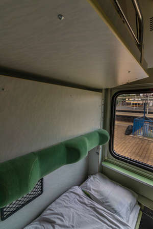 Single compartment with wash basin in night fast train from Presov to Prague