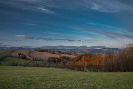 Sunset view in Roprachtice village in Krkonose mountains in spring beautiful evening