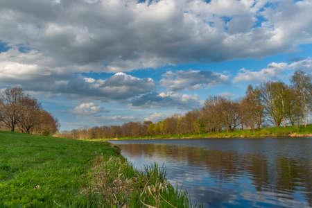 Vltava river in spring color fresh evening near Ceske Budejovice town in south Bohemia