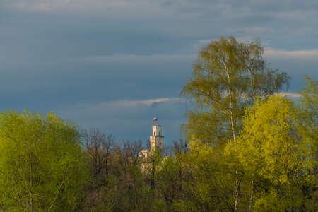 Nadeje pond near Hluboka nad Vltavou town in spring color dark blue evening