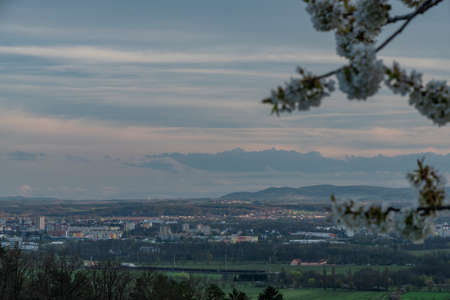 View for Ceske Budejovice city in cloudy spring color evening