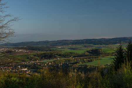 Nice meadows over Vizovice town with sunrise and fresh color air in east Moravia