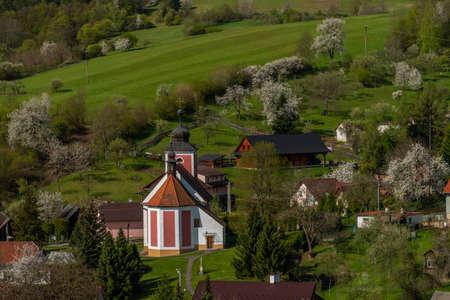 Church of Saint Divis in Horni Lhota village in fresh spring sunny day in east Moravia