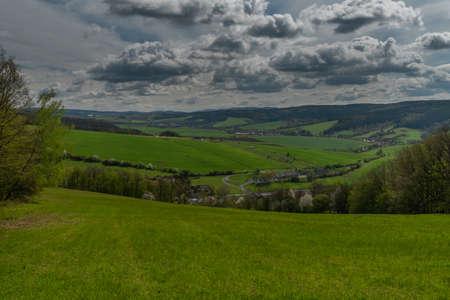 Meadows near Horni Lhota village in fresh spring sunny day in east Moravia