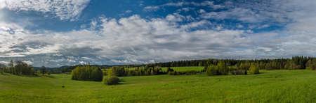 Morning near Nejdek town with fresh green pasture land after night rain Reklamní fotografie