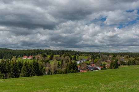 Prebuz village with fresh meadows and forests in Krusne mountains Reklamní fotografie