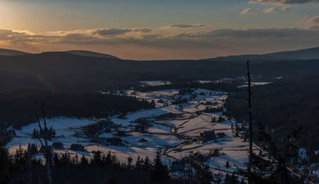 Sunset view from Bukovec hill with blue sky and orange color sun Reklamní fotografie