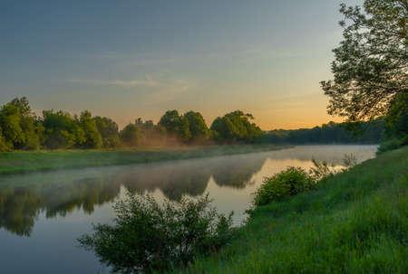 Vltava river near Budweis city in south Bohemia in sunrise fresh morning Reklamní fotografie