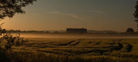 Fields near Budweis city with sunrise and color fresh spring fields