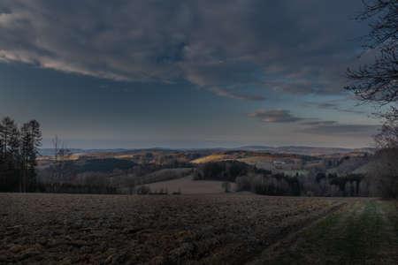 Sunrise view in Roprachtice village in Krkonose mountains in spring beautiful evening Reklamní fotografie
