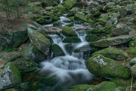 Small creek in Krkonose national park in cold spring with snow Reklamní fotografie