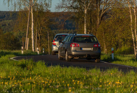 Cars on black road with birch trees and dandelions in color sunset spring evening