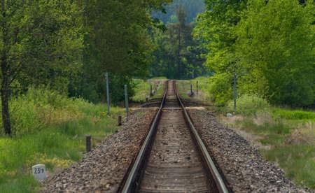 Railway track in south Bohemia color spring fresh morning Reklamní fotografie